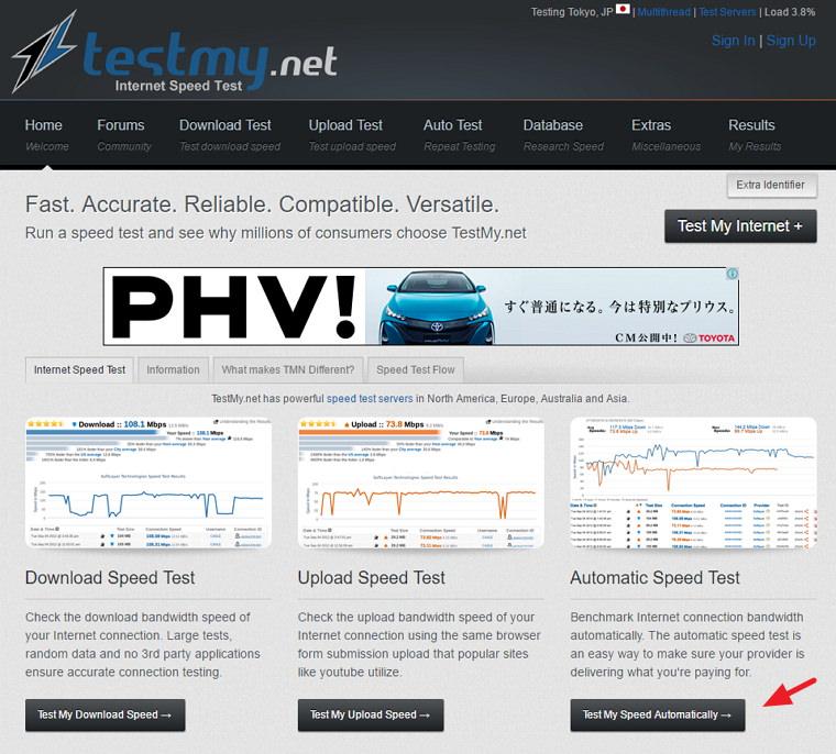 TestMy.net 國外免費測試網路連線速度線上服務