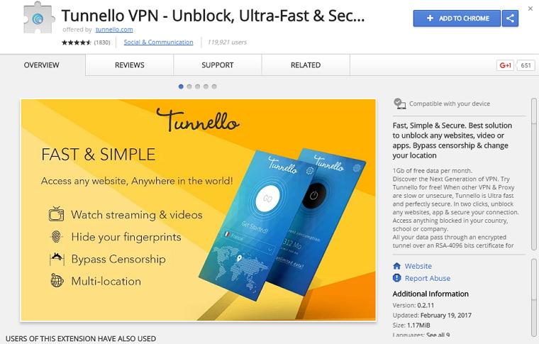 Tunnello VPN – 多節點不無限制流量 Chrome VPN 套件