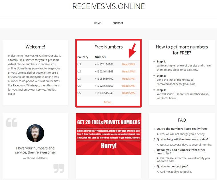 RECEIVESMS.ONLINE – 美國手機號碼簡訊接收服務