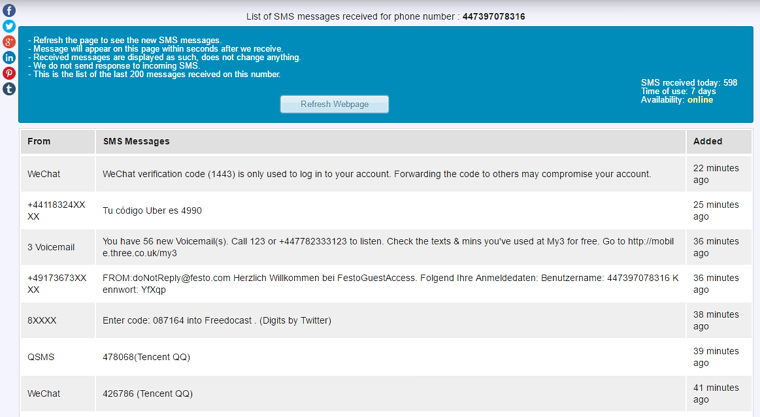 Receive SMS Free – 免費多國家收簡訊服務網站