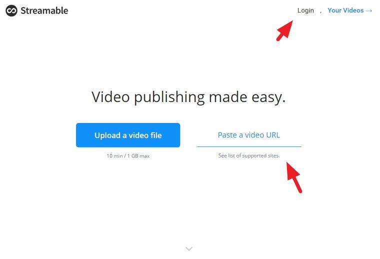 Streamable 免註冊影片上傳分流空間@10分鐘/1GB限制