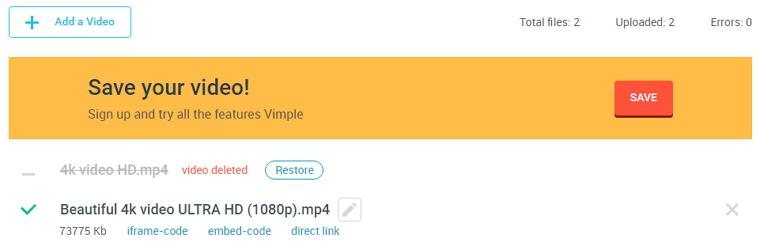 Vimple 免費無需註冊影片上傳空間@1GB容量限制