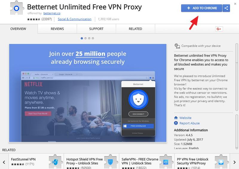 Betternet 免費無須註冊電腦/手機 VPN 連線服務教學文