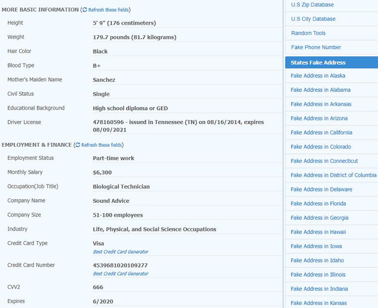 Fake Address Generator 世界各國假個資自動產生器
