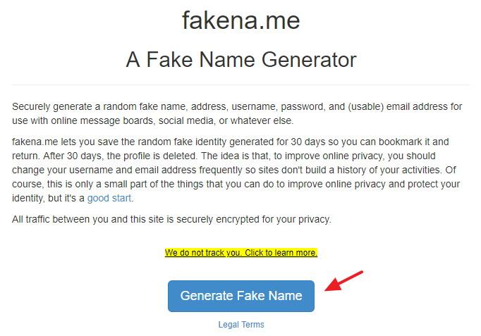 FakeNa.me 隨機產生測試用假身分如姓名/住址/Email 個資平台