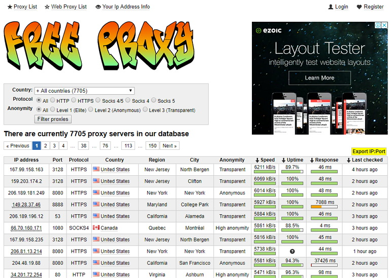 Fresh Proxy List 支援清單匯出 & 過濾條件多代理伺服器網站