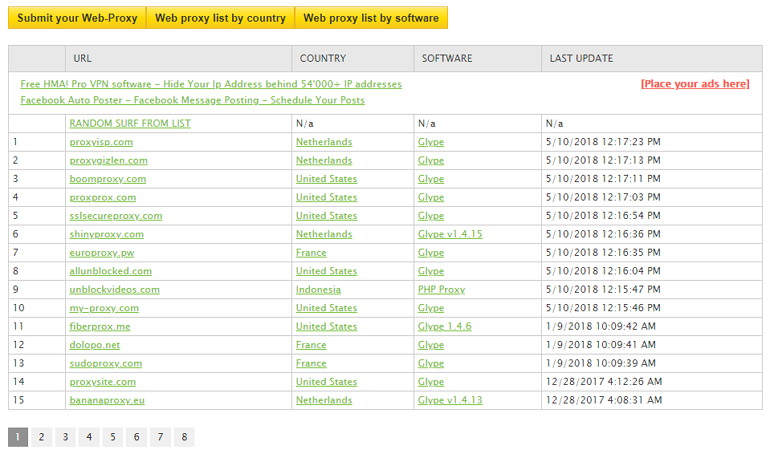 GatherProxy 免費在線代理伺服器查詢網站