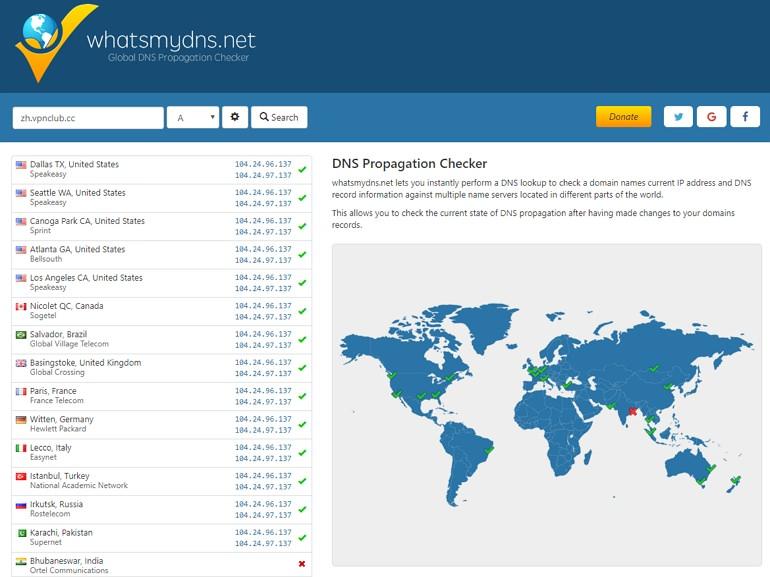 Global DNS Checker 查詢世界各國伺服器解析網站域名概況