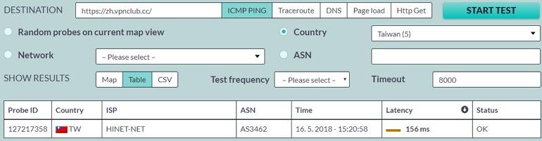 MapLatency 全世界數萬個節點檢測網站延遲、Ping 與載入時間