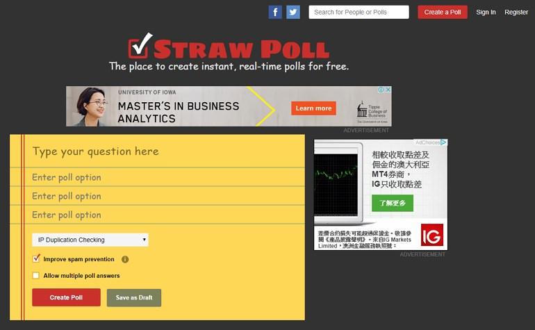 Straw Poll 簡單好用支援嵌入語法匿名投票網站推薦