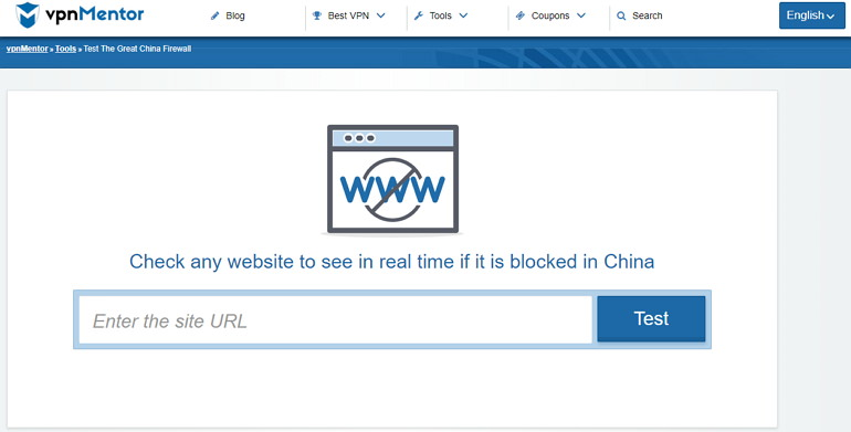 VPN Mentor 查詢網站是否被 GFW 防火牆封鎖瀏覽