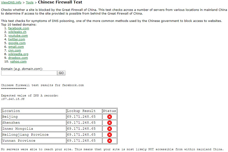 ViewDNS 檢測網站是否被中國防火牆給封鎖限制