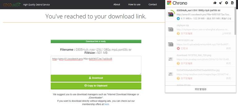 Cocoleech 支援 MEGA、Datafile 與 Rapidgator 付費帳號高速下載