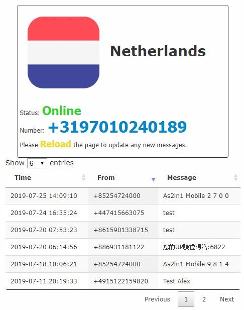 ReceiveaSMS 提供多達 15 個國家免費線上網路收簡訊服務