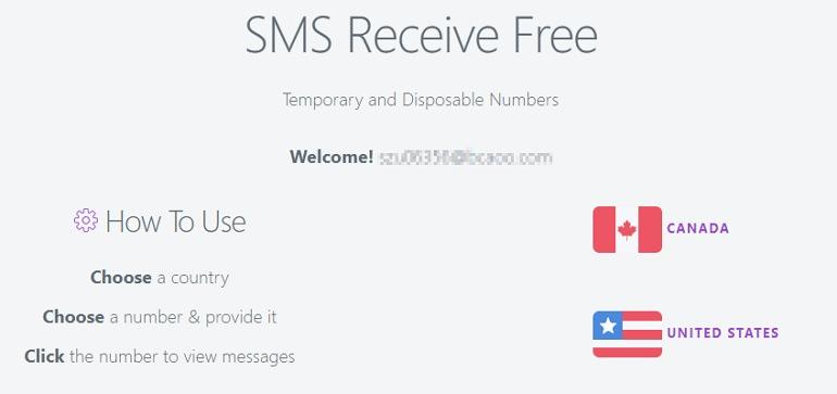 SMSReceiveFree 免費美國 + 加拿大收簡訊線上服務