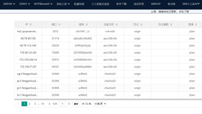 SSRTool 免費取得 SS/SSR 節點混淆/被牆/加密伺服器即時資訊