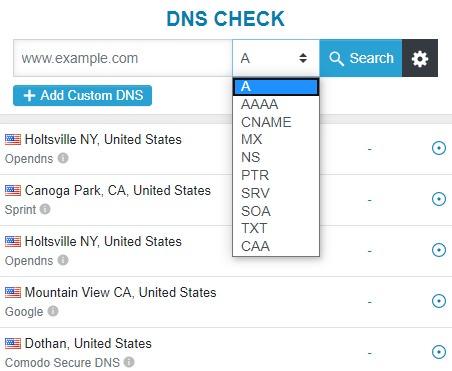 DNS Checker 透过世界各国 DNS 服务器检查网站域名更新纪录