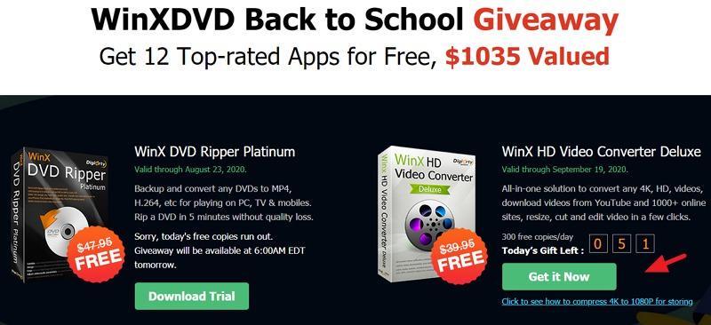 WinXDVD 返校季 12 套正版軟體價值超過 00 美元限時免費